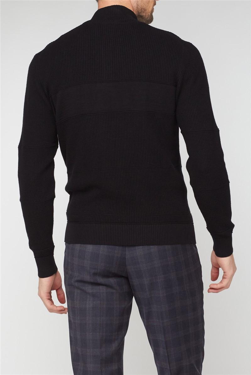 Black Textured Half Zip