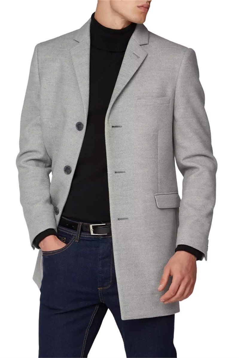 Light Grey Melton Slim Fit Overcoat