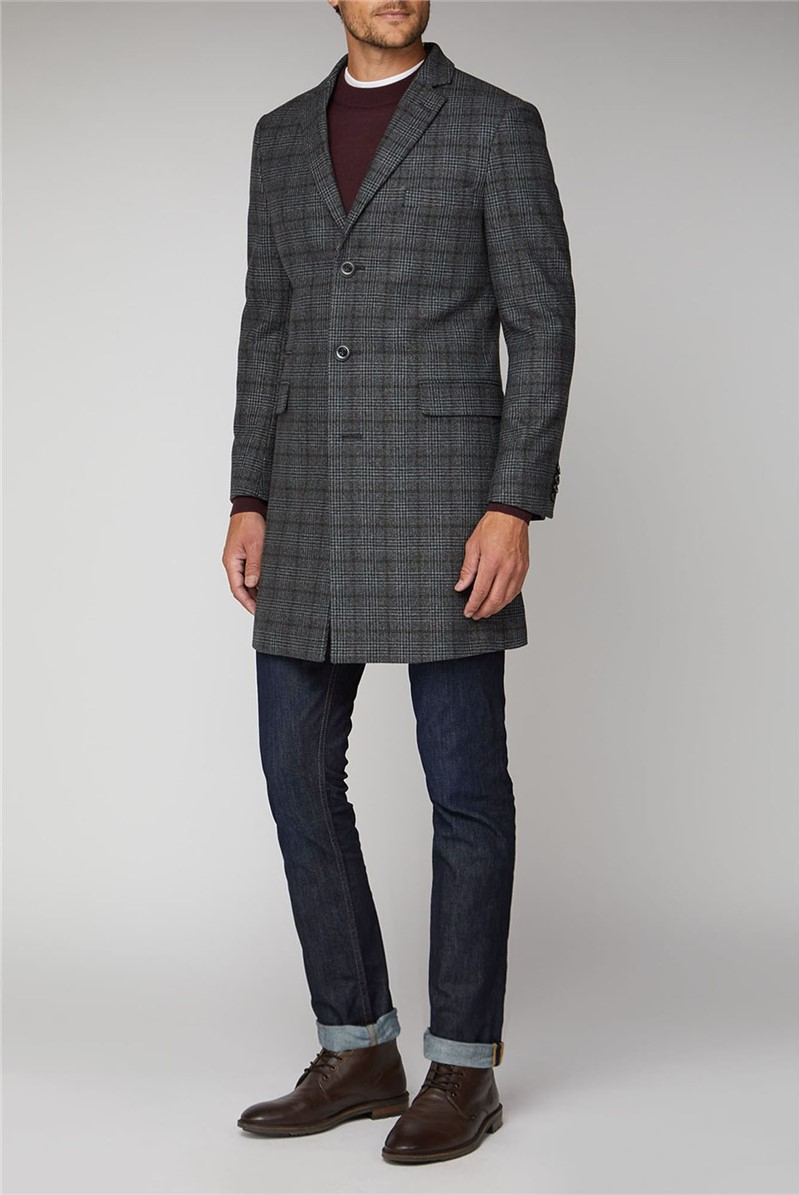 Grey Khaki Check Overcoat