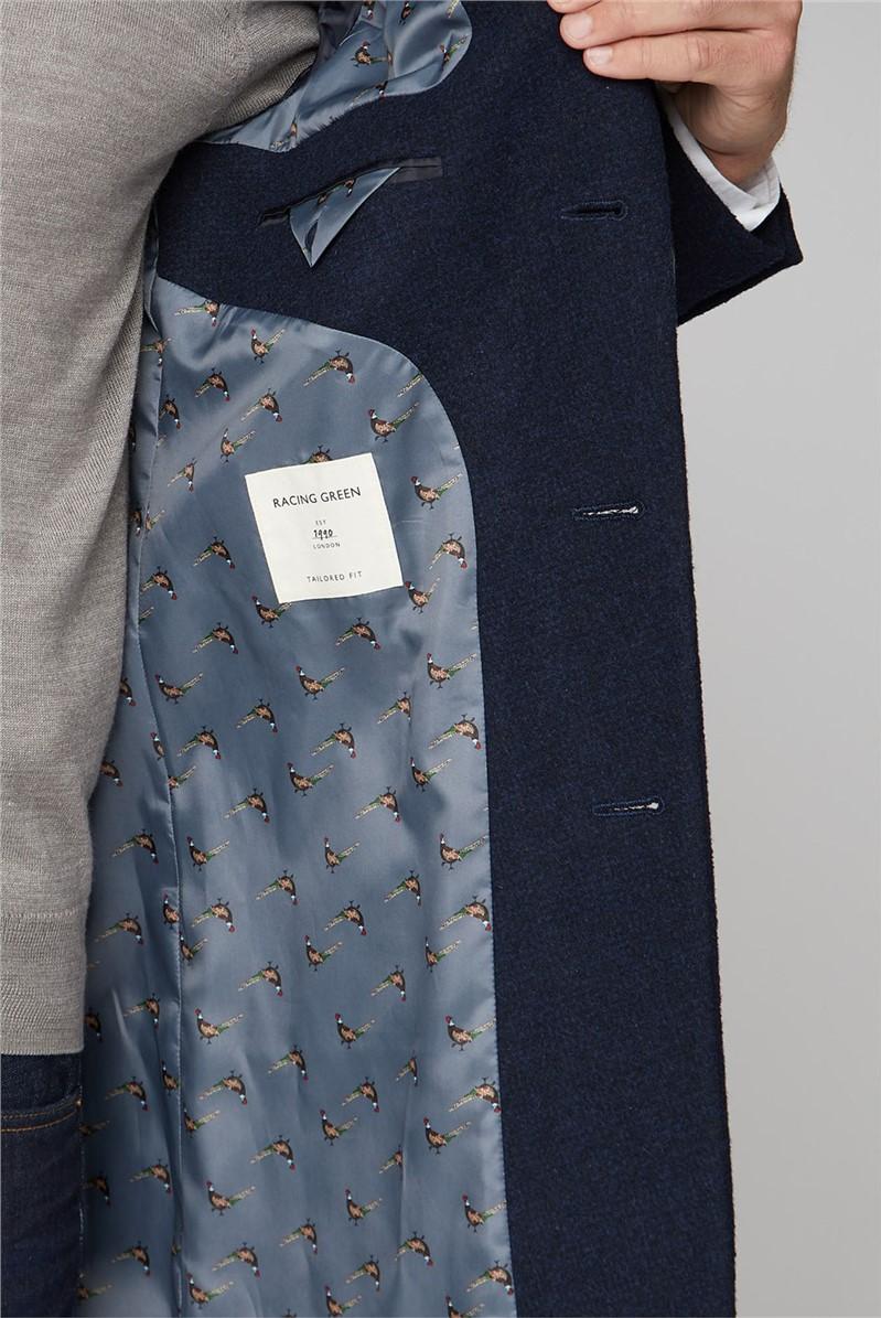 Blue Semi Plain Overcoat