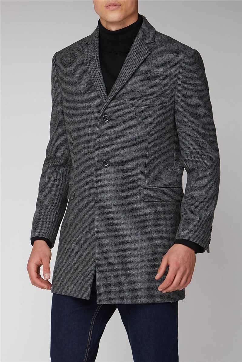 Grey Semi Plain Regular Fit Overcoat