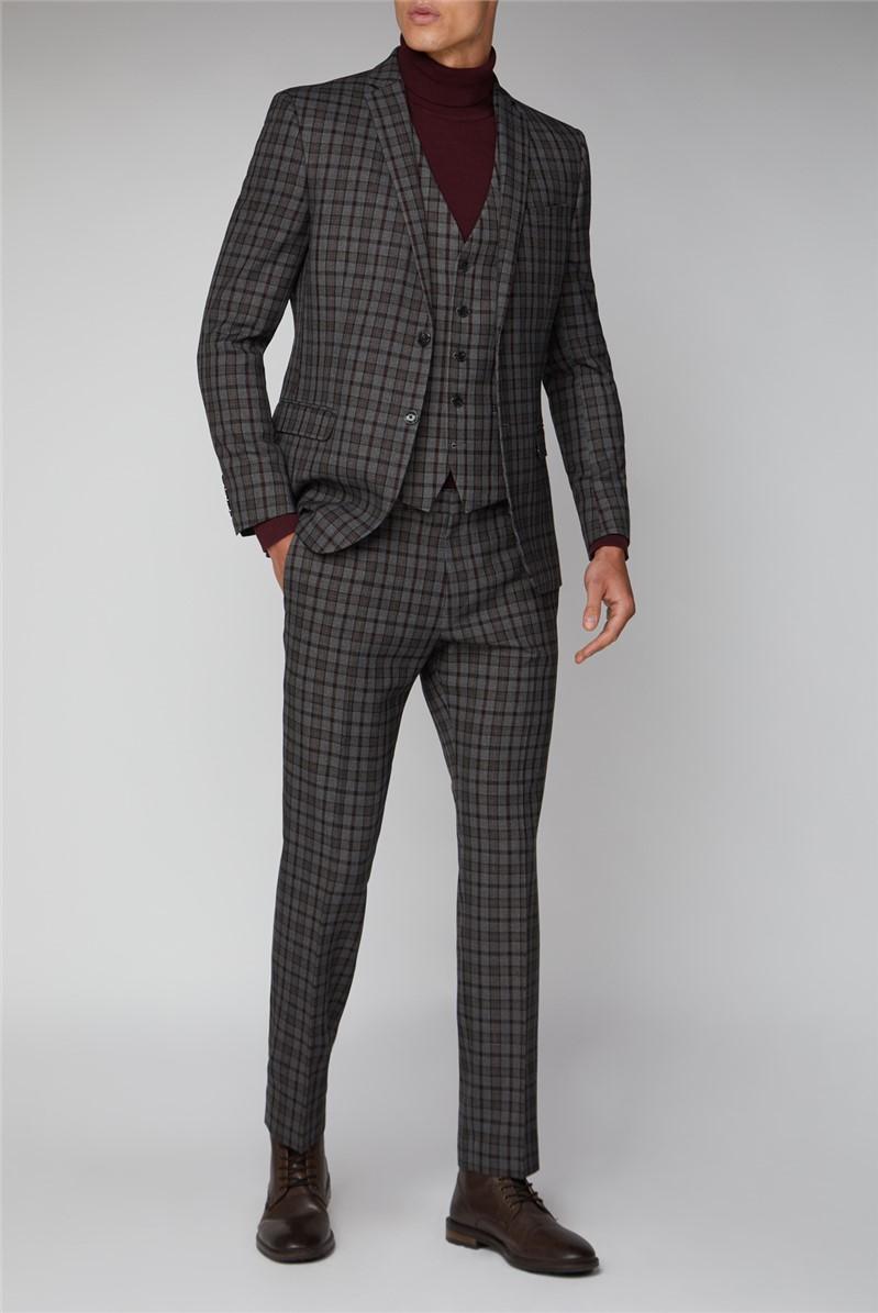 Heritage Grey Burgundy Overcheck Suit