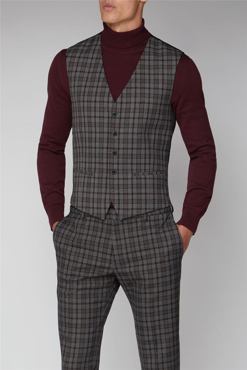 Heritage Grey Burgundy Overcheck Waistcoat