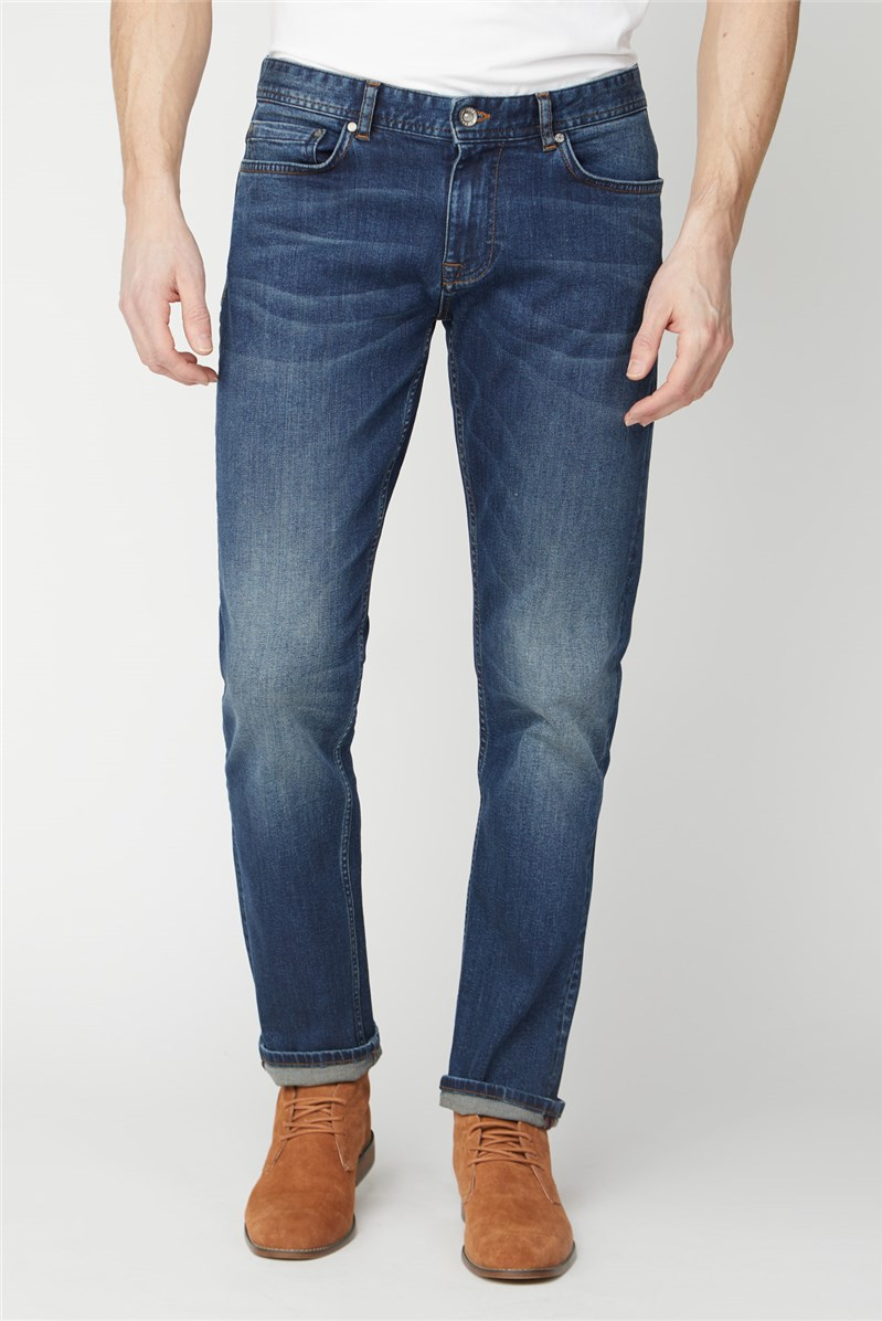 Mid Blue Stone Wash Straight Fit Jeans