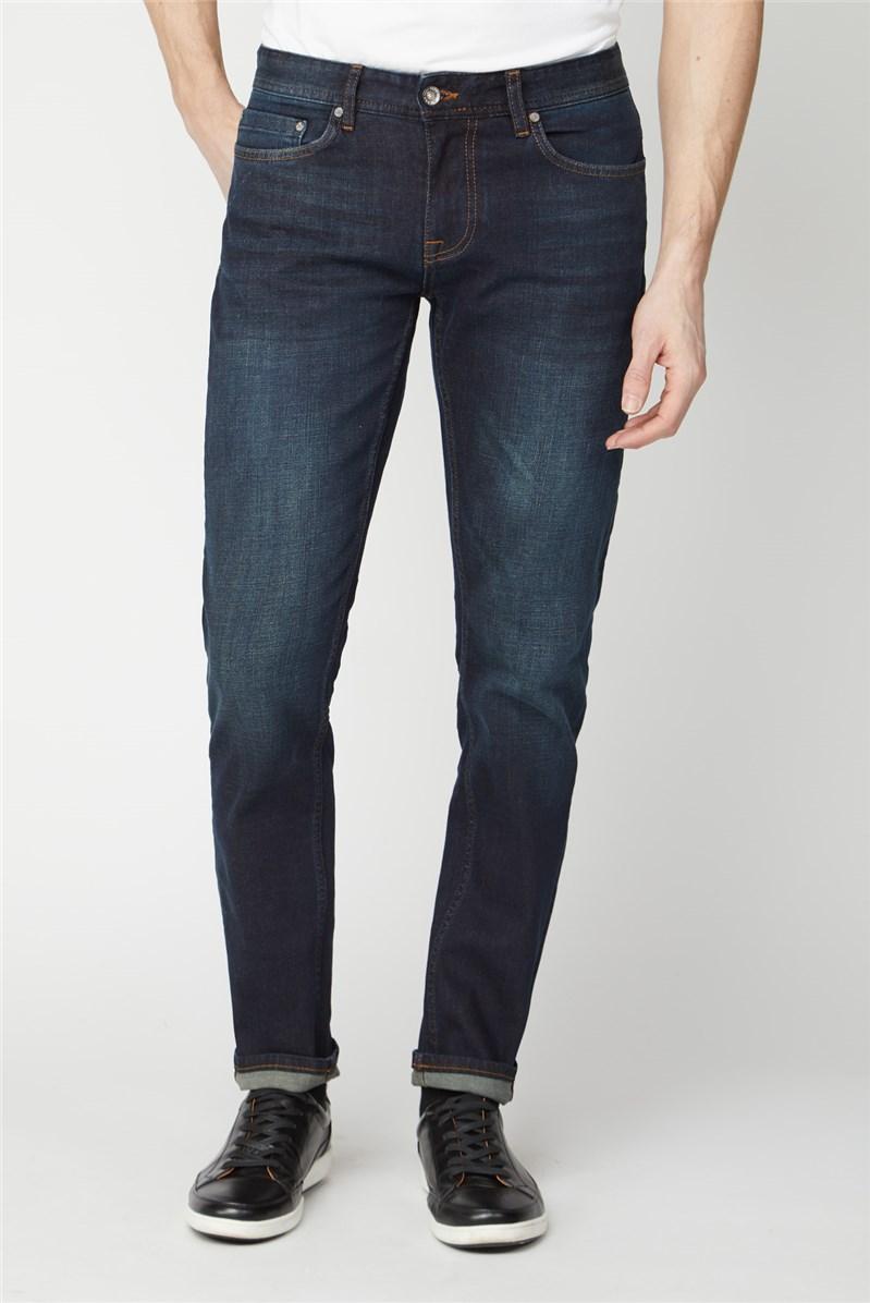 Dark Blue Vintage Wash Straight Fit Jeans