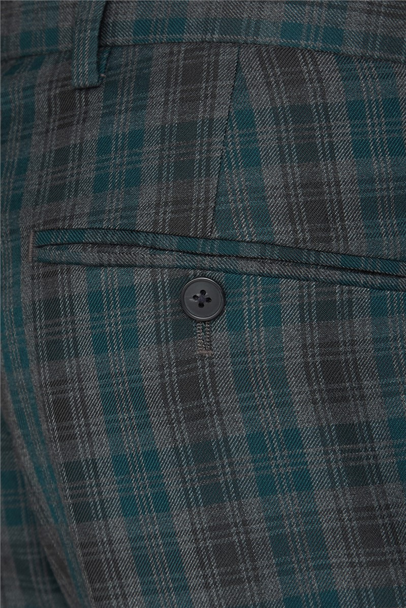 Grey Teal Check Trousers