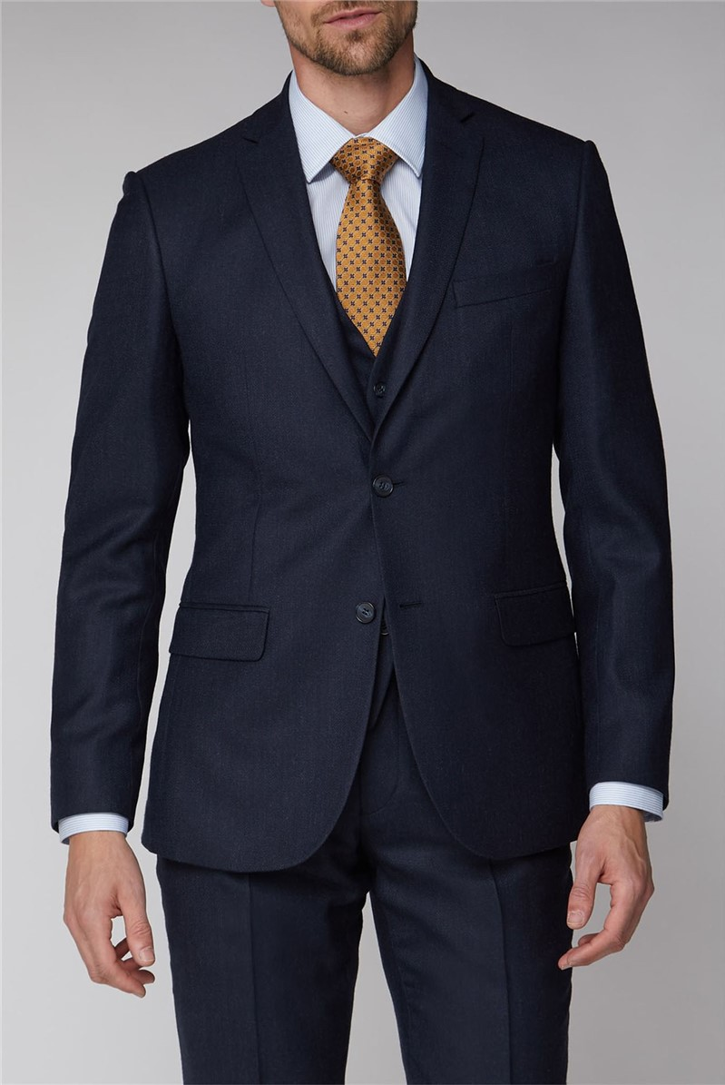 Navy Texture Tailored Fit Trousers