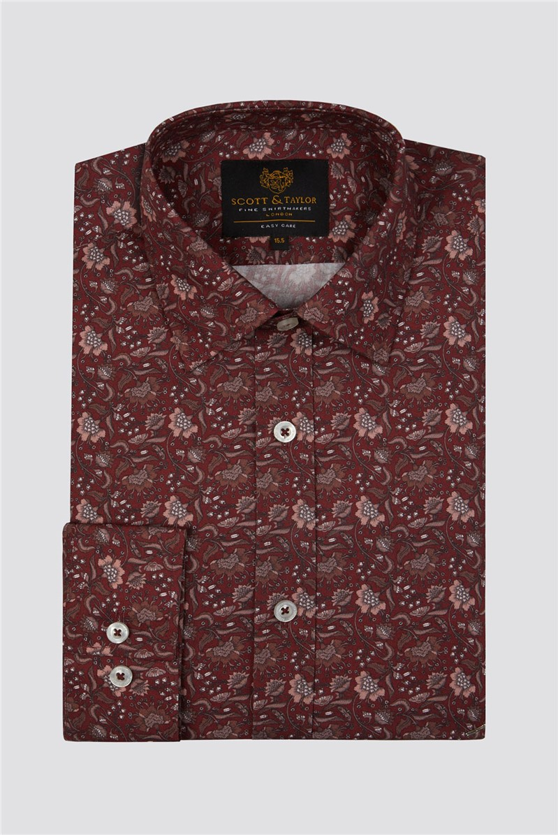 Wine Intricate Floral Shirt