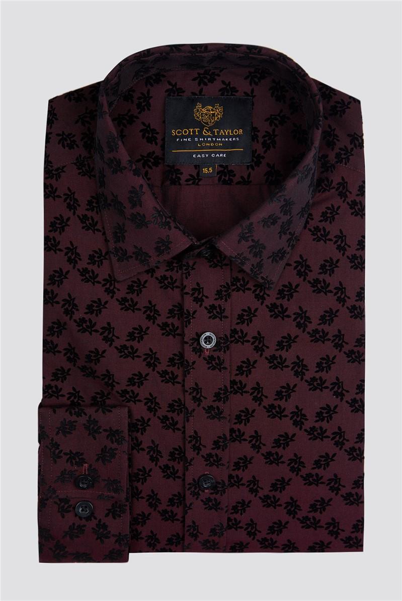 Wine Flock Paisley Shirt