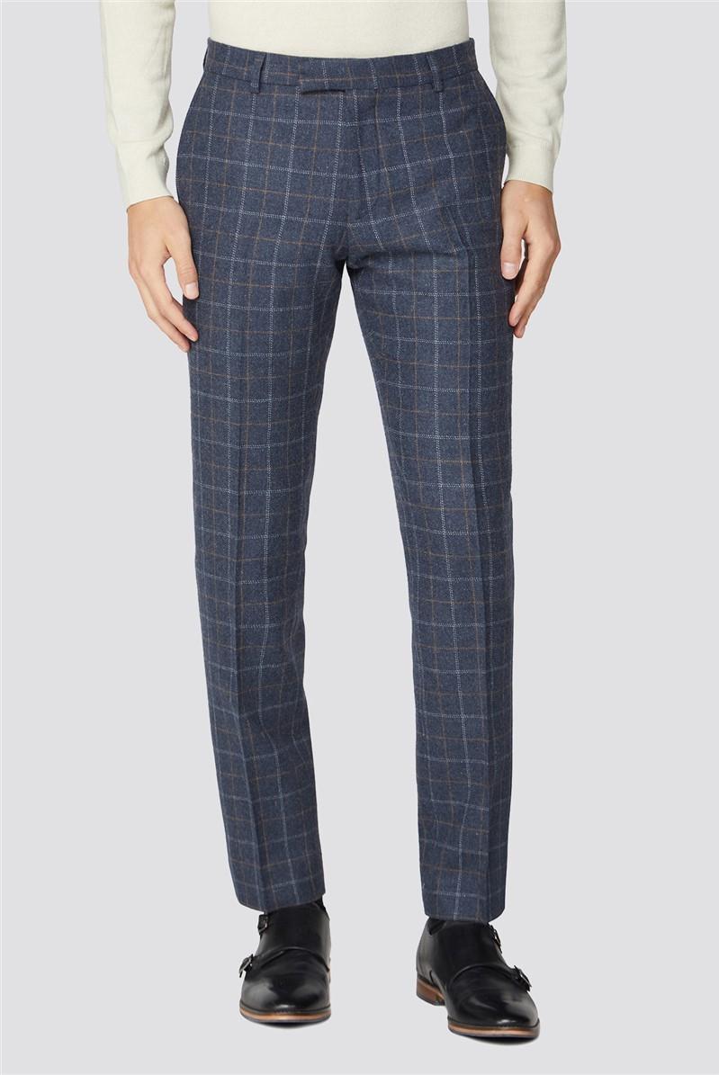 Blue Heritage Tweed Slim Fit Suit Trousers