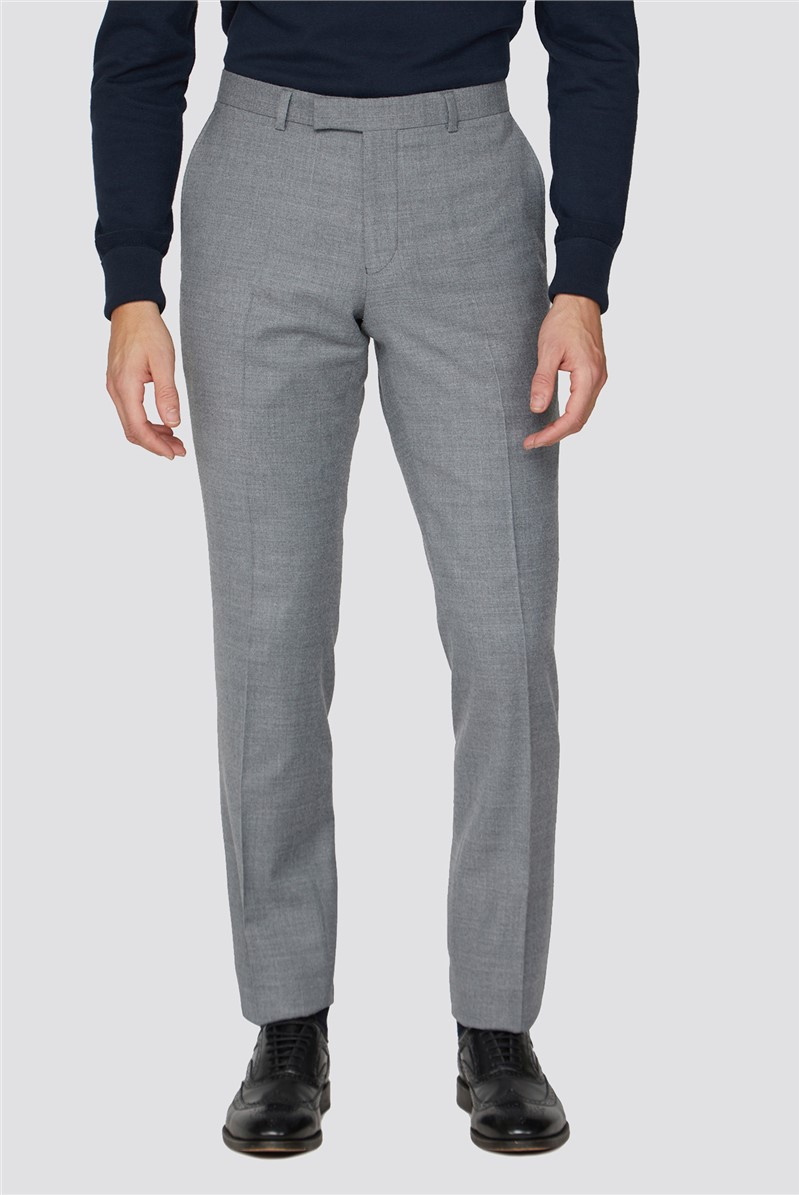Light Grey Flannel Tailored Fit Suit Trousers