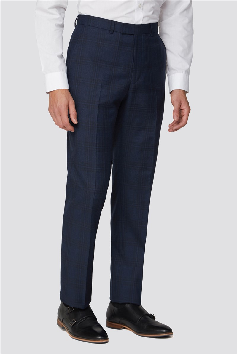Blue Tonal Check Tailored Fit Suit Trouser