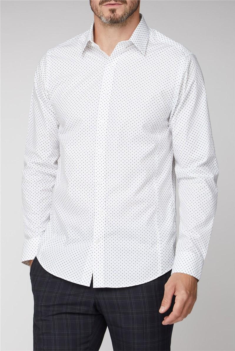 Brit White Geo Spot Print Shirt