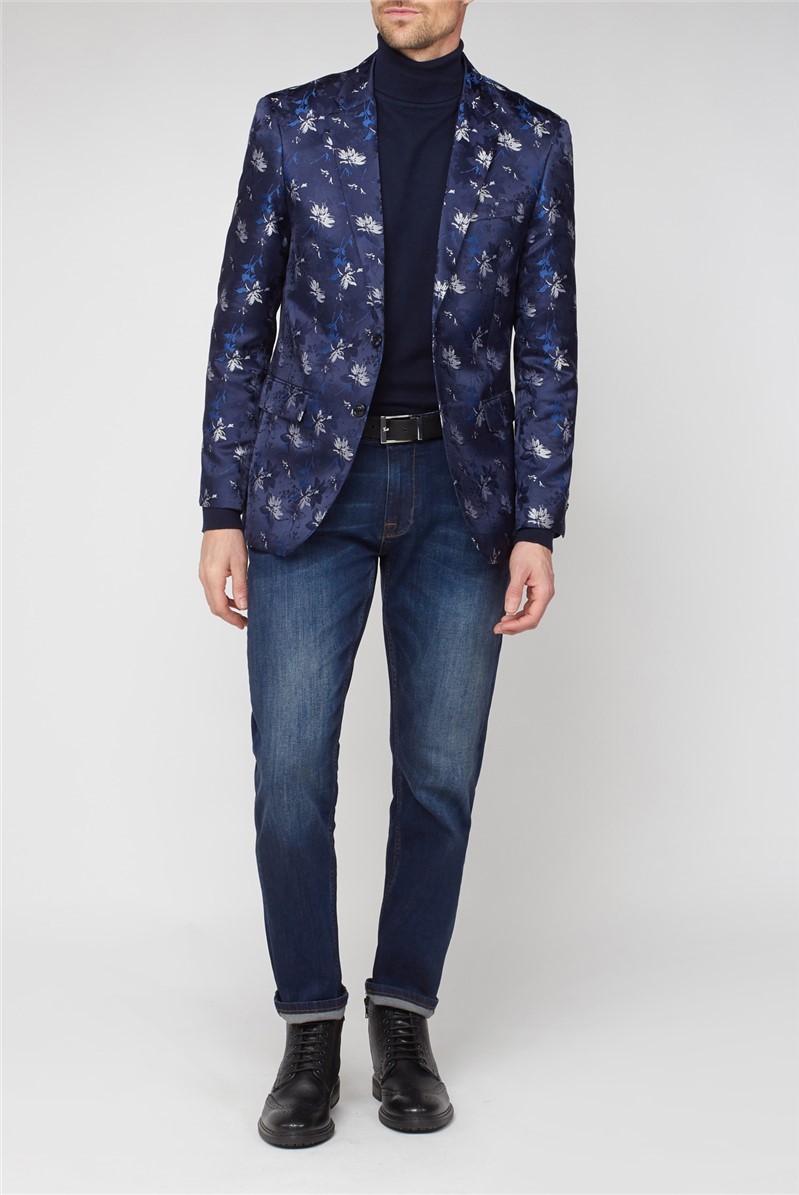 Stvdio Navy Floral Jacquard Jacket