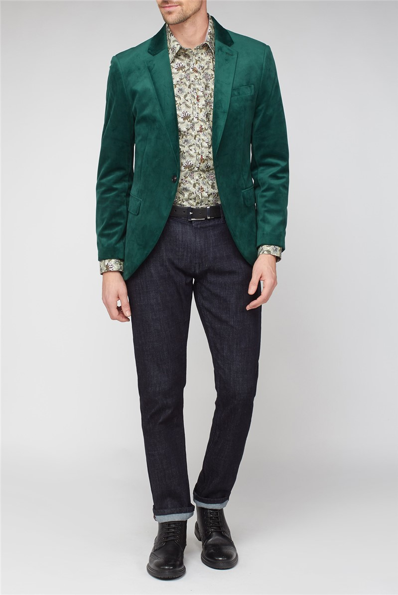 Stvdio Green Slim Suit Mens Velvet Blazer