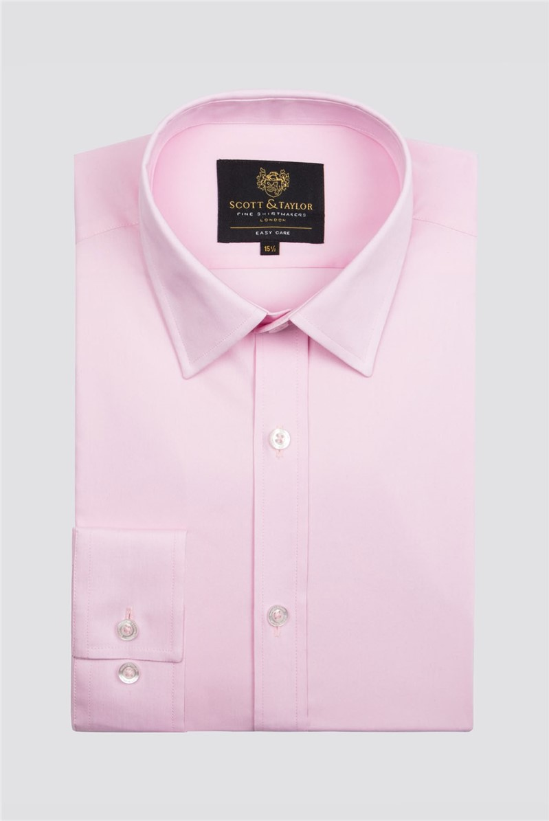 Scott & Taylor Pink Poplin Single Cuff Shirt