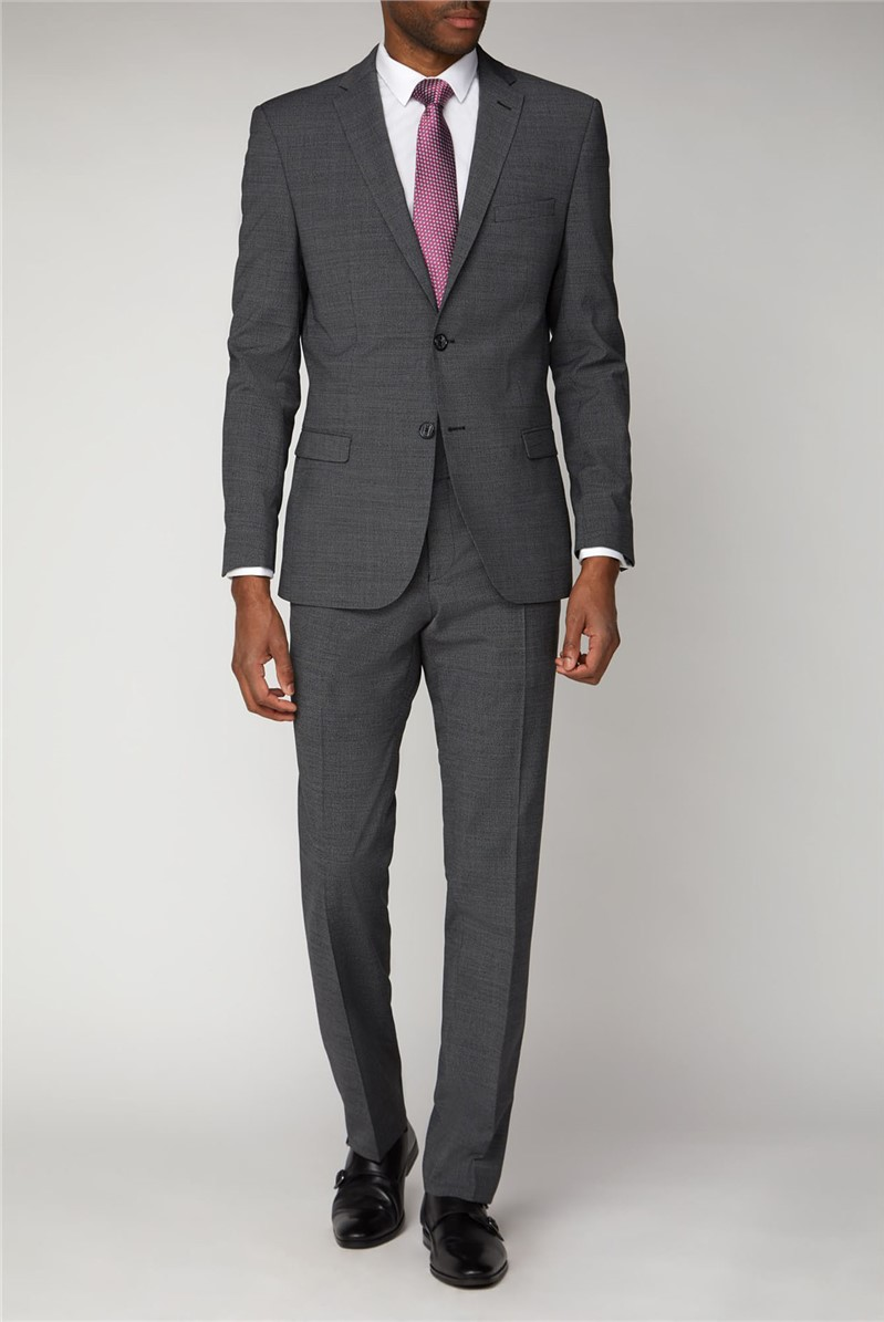 Charcoal Semi Plain Slim Fit Suit