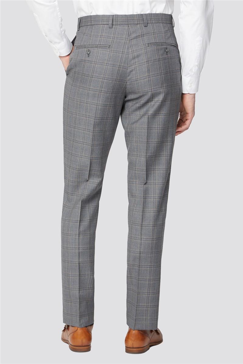 Alexandre Silver Grey Tonal Check Regular Fit Suit Trouser