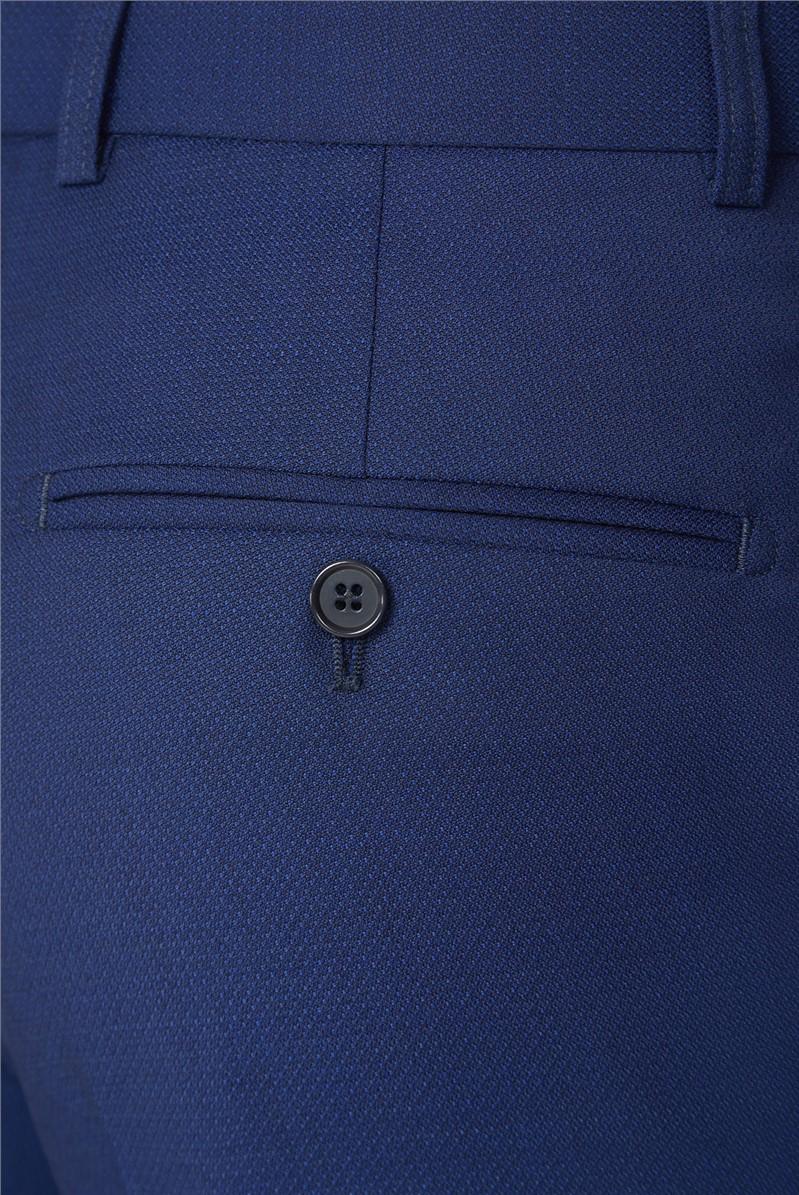Blue Texture Regular Fit Suit Trousers