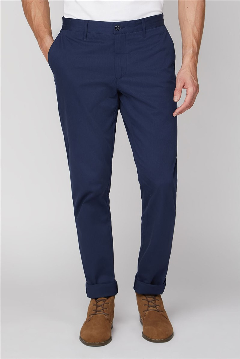 Navy Stretch Chino Trousers