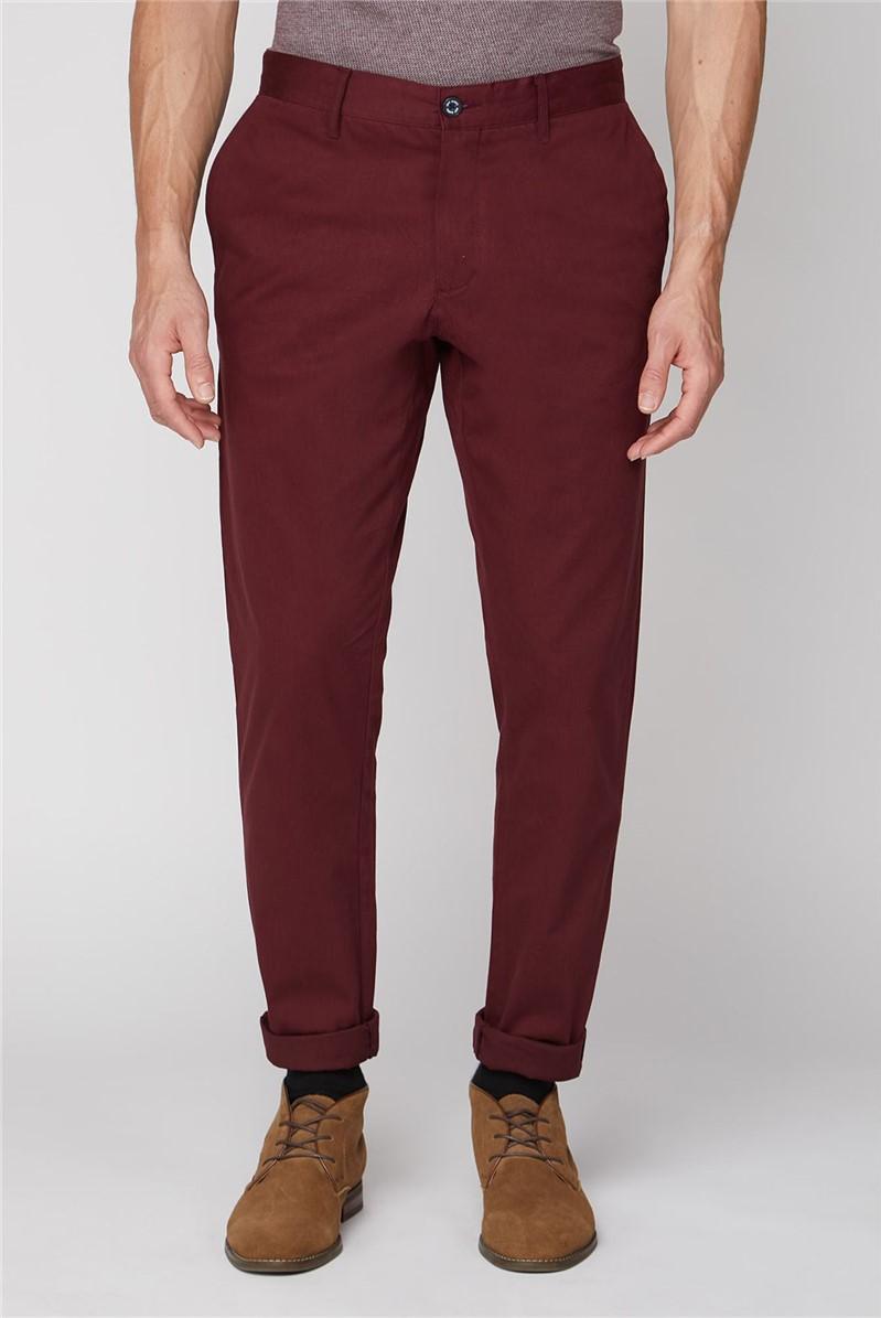 Burgundy Stretch Chino Trouser