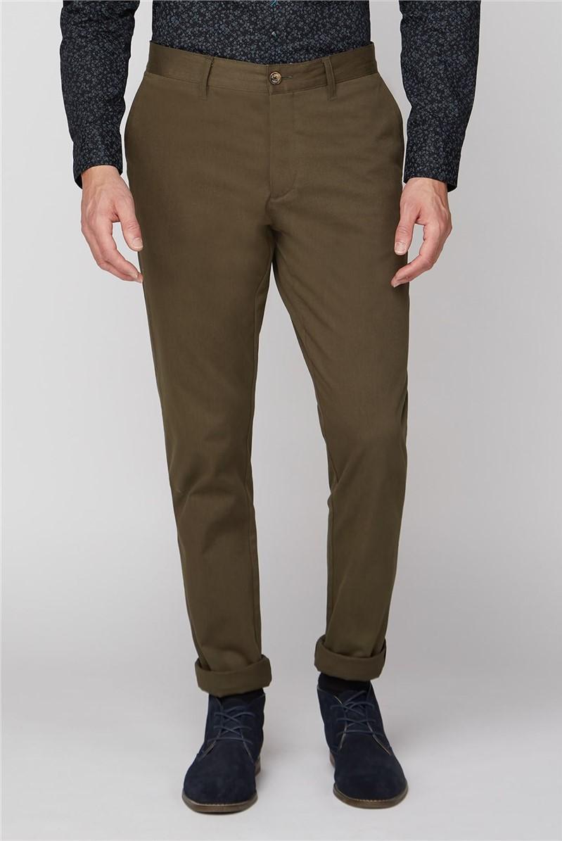Dark Green Stretch Chino Trouser
