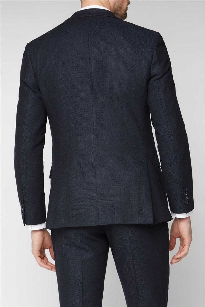 Navy Herringbone Tailored Jacket