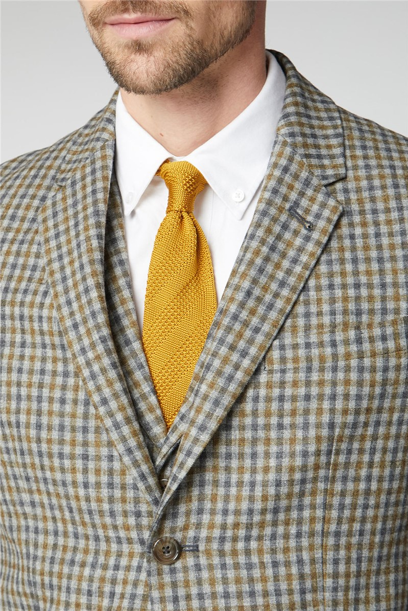 Grey Blue Micro Check Tailored Jacket