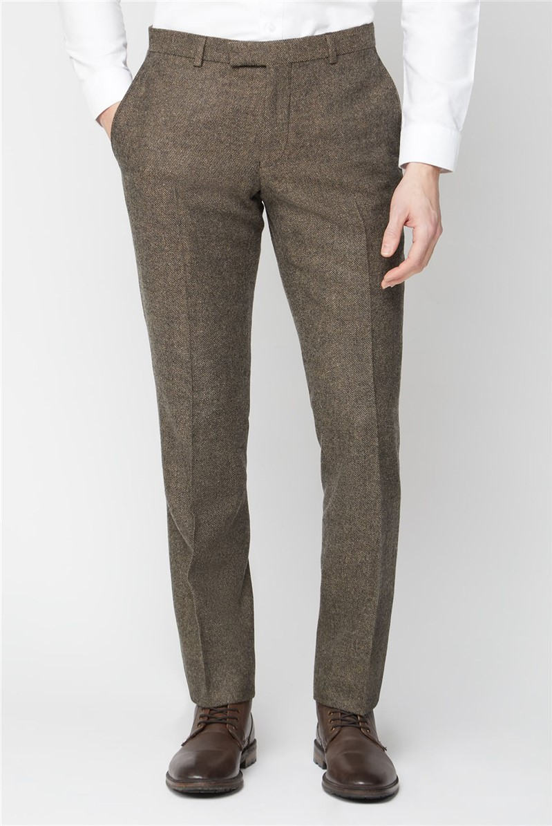 Brown Donegal Tailored Suit Trousers