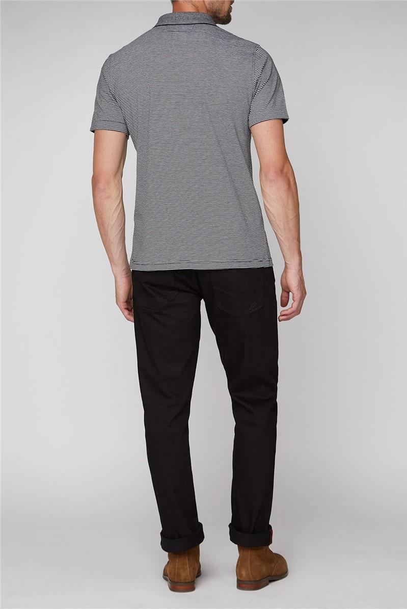 Short Sleeve Black Grey Striped Polo