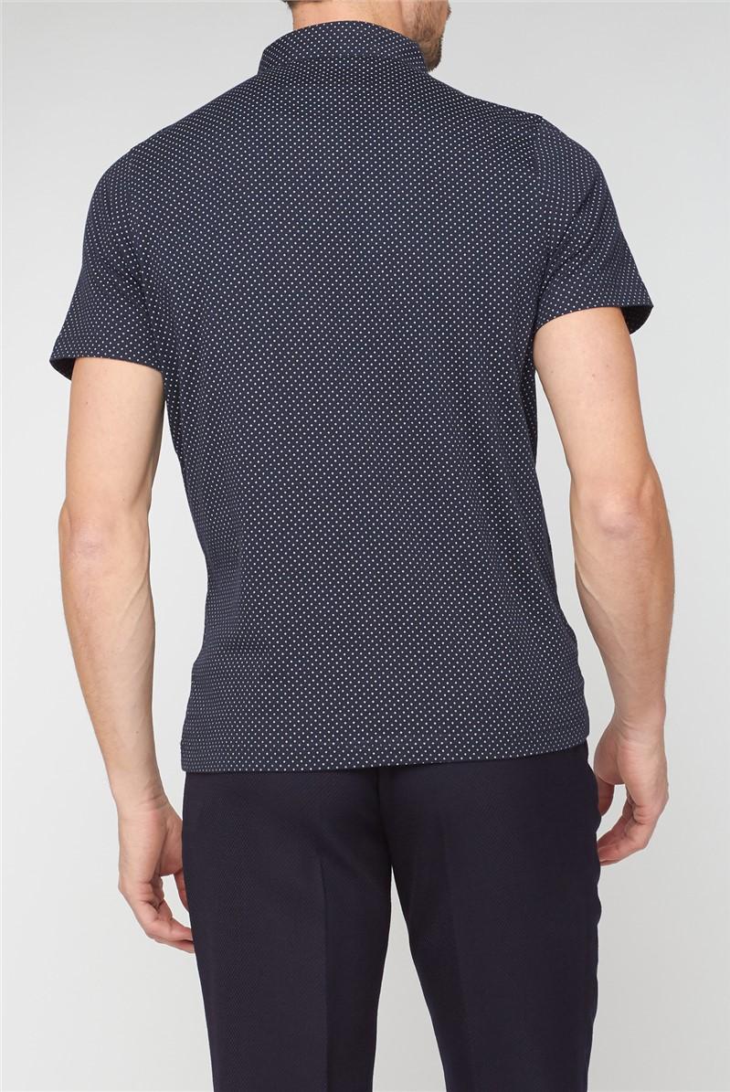 Short Sleeve Navy Printed Polo
