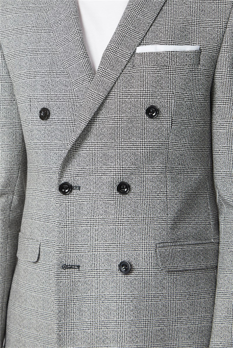 Black and White Check Double Breasted Slim Jacket
