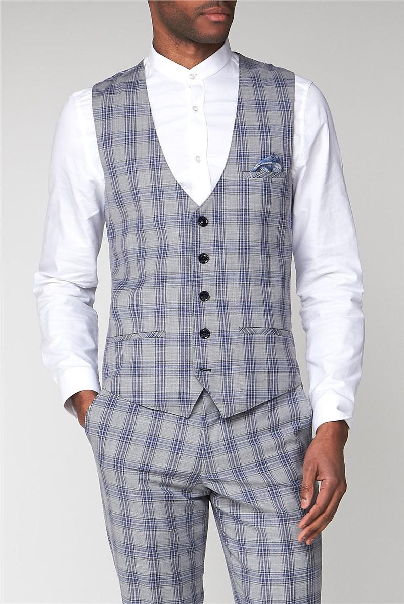 Jack Grey Check Slim Fit Waistcoat