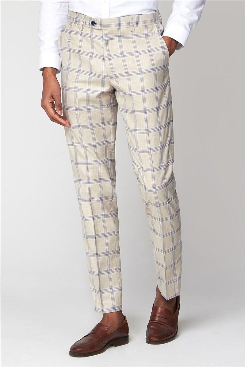 Marc Darcy Buxton Cream Check Slim Fit Trouser