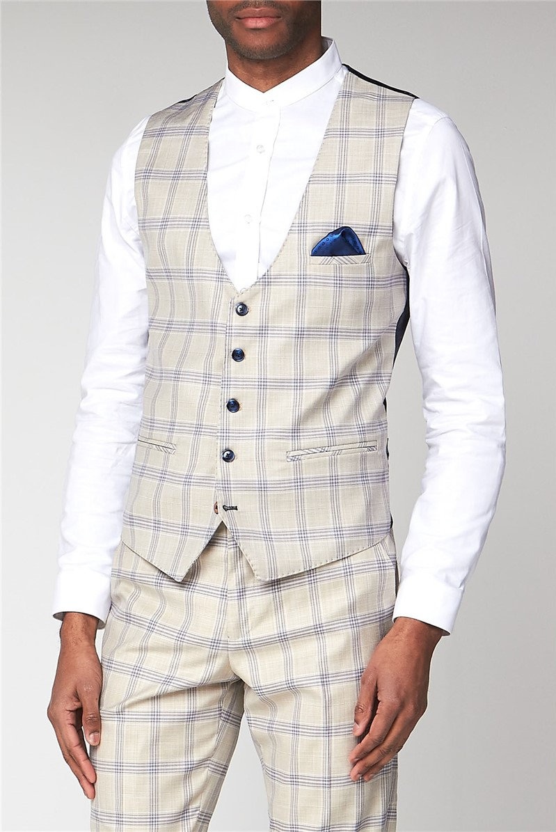 Buxton Cream Check Slim Fit Waistcoat