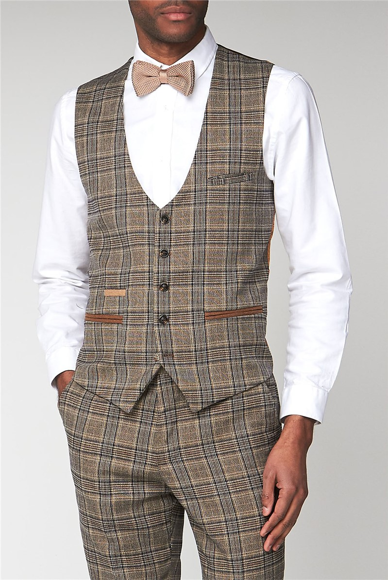 Marc Darcy Enzo Tan Check Slim Fit Waistcoat