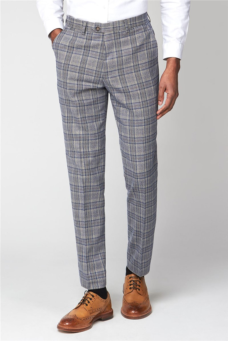 Marc Darcy Enzo Sky Stone Check Slim Fit Trouser