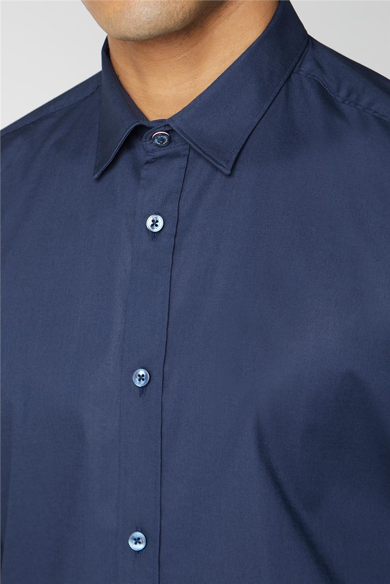 Navy Stretch Poplin Shirt