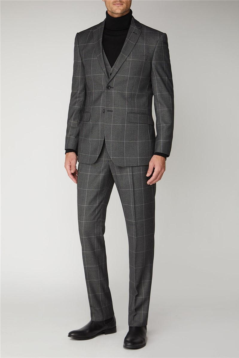 Grey Check Regular Fit Mens Suit
