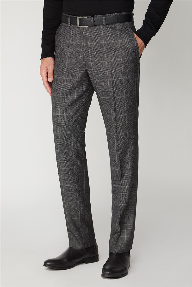 Grey Check Regular Fit Trouser