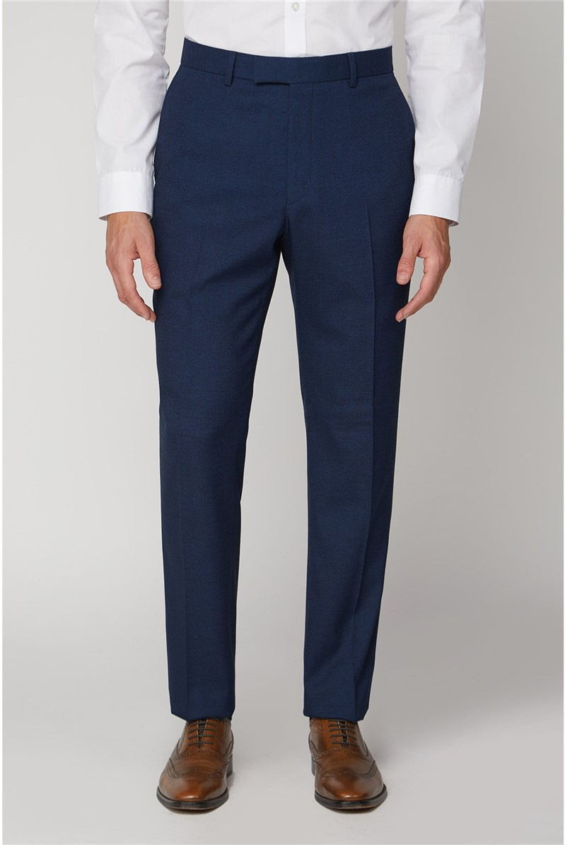 Navy Texture Regular Fit Suit Trousers