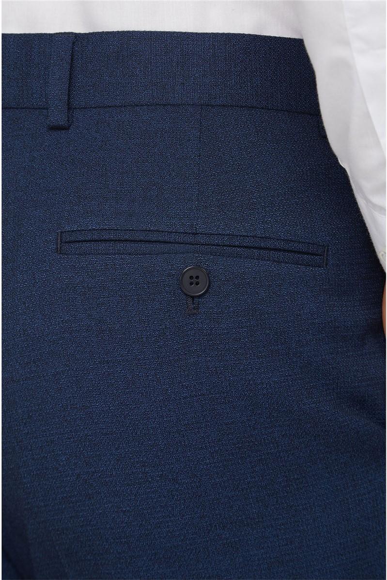 Navy Texture Regular Fit Suit Trousers