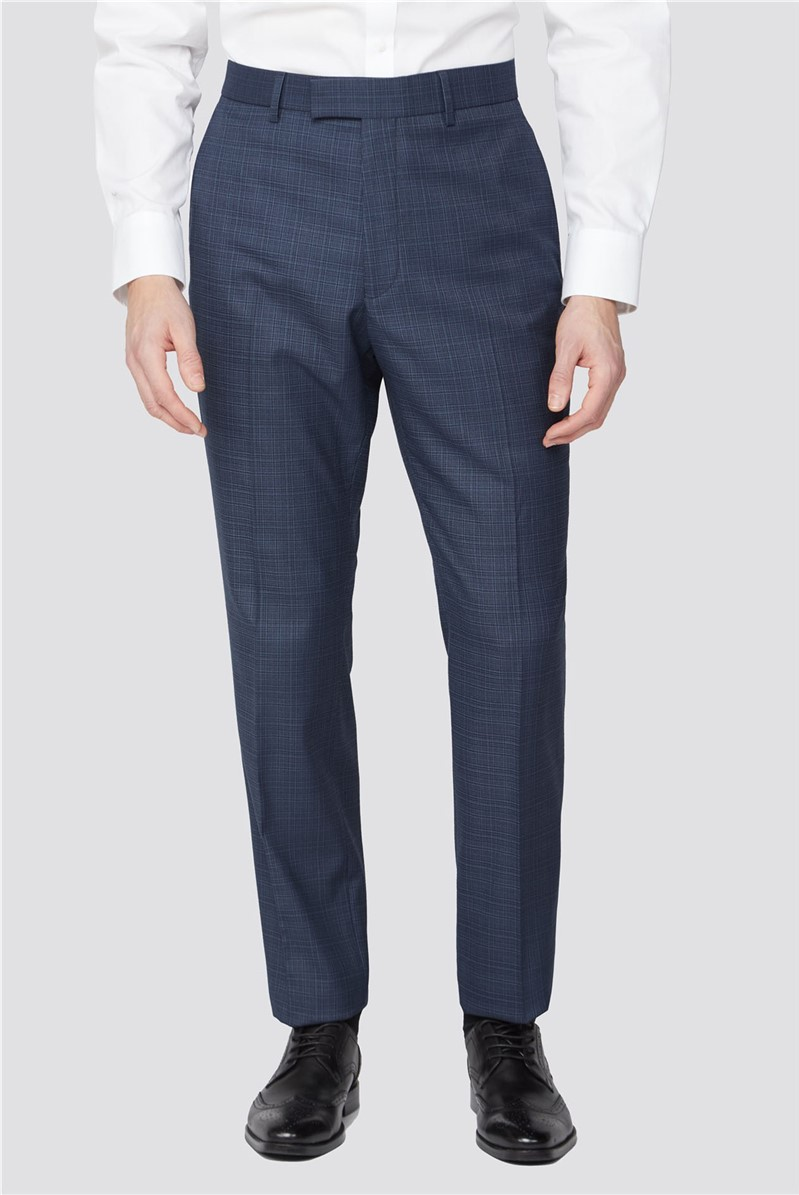 Navy Blue Broken Check Trousers