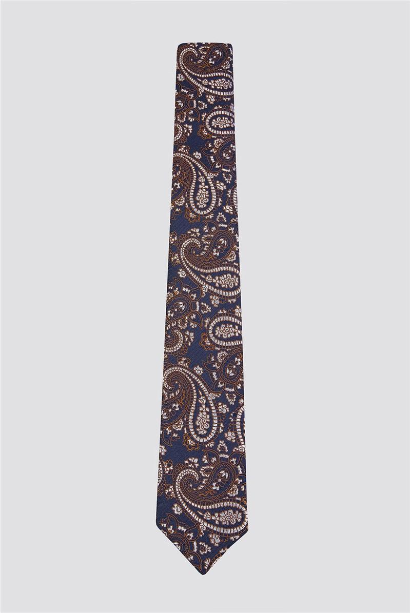 Navy Orange Brocade Paisley Tie