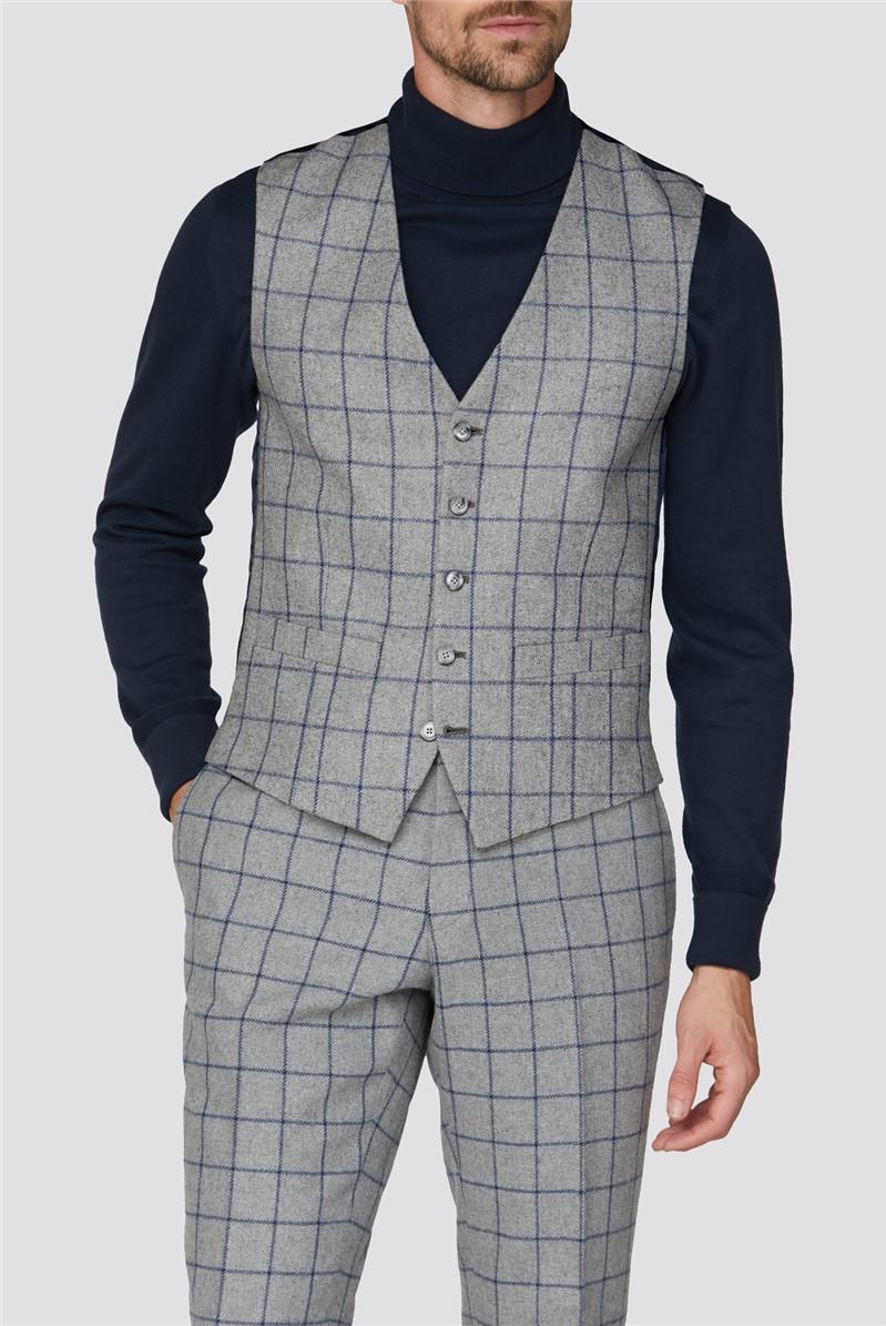 Grey Windowpane Heritage Tweed Waistcoat