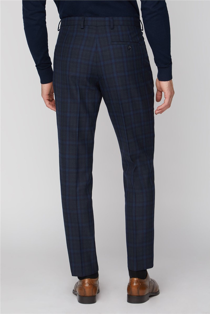 Stvdio Blue Green Jaspe Check Ivy League Pleat Trousers