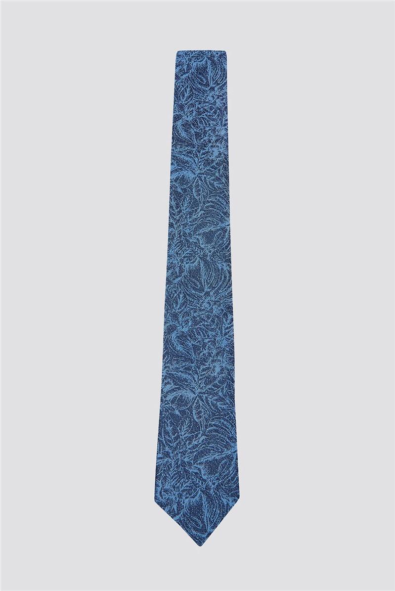 Blue Sketch Floral Tie