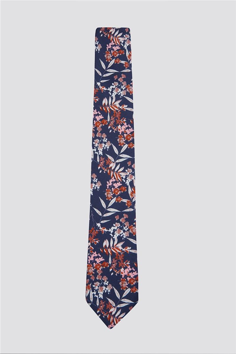 Burnt Orange Autumnal Floral Print Tie