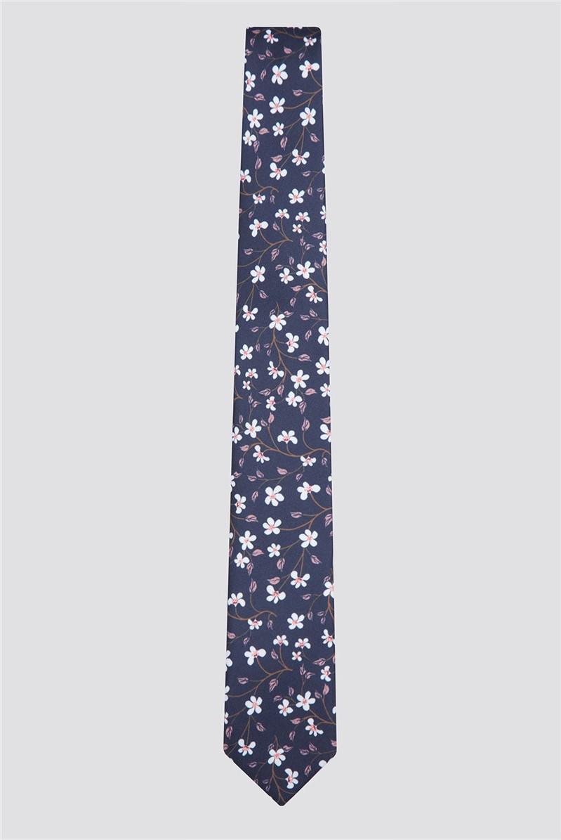 Navy Ditsy Floral Print Tie