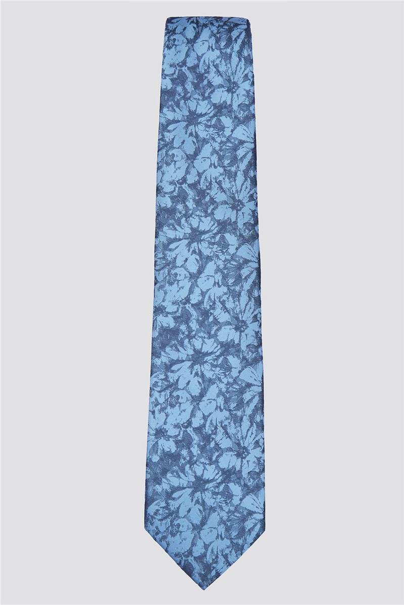 Blue Painted Floral Tie